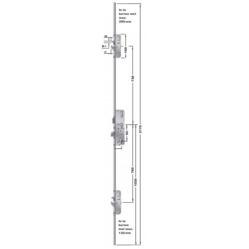 KFV AS 2600 Sleutelbediende meerpuntssluiting met haken en pennen.